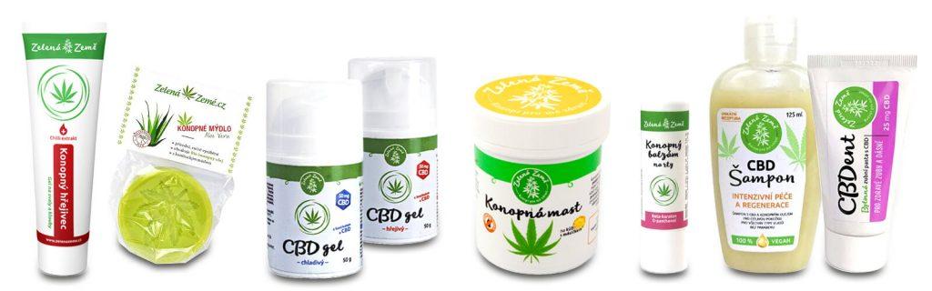 CBD konopná kozmetika: krémy, gély, balzám, šampón a zubná pasta od výrobcu Zelená země